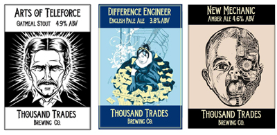 Thousand Trades microbrewery labels