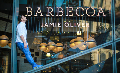 Jamie Oliver outside Barbecoa